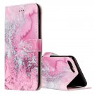 For iPhone 8+ & 7+ Pink Seawater Pattern Leather Case with Holder, Card Slots & Wallet