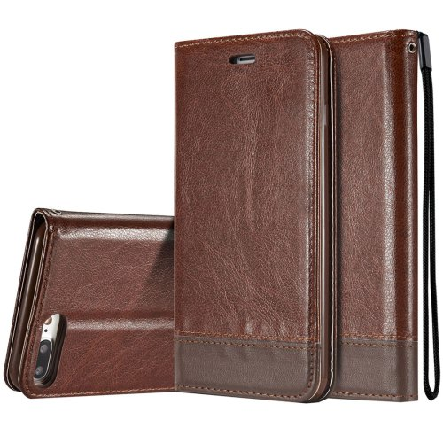 For iPhone 8+ & 7+ Double-sided Brown Splicing Leather Case with Holder, Card Slots & Lanyard