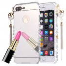 For iPhone 8+ & 7+ Silver Pearl Chain Pendant Diamond Electroplating Mirror PC Cover Case