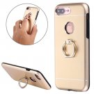 For iPhone 8+ & 7+ Motomo Gold Metal + TPU Protective Case with Ring Holder Stand