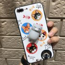 For iPhone 8+ & 7+ White Background 3D Cat Pattern Squeeze Relief IMD Workmanship Squishy Case