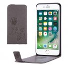 For iPhone 8+ & 7+ Grey Flowers Pattern Vertical Flip Leather Case with Card Slot & Lanyard
