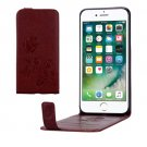 For iPhone 8+ & 7+ Brown Flowers Pattern Vertical Flip Leather Case with Card Slot & Lanyard