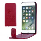 For iPhone 8 & 7 Red Flowers Pattern Vertical Flip Leather Case with Card Slot & Lanyard