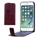 For iPhone 8 & 7 Brown Flowers Pattern Vertical Flip Leather Case with Card Slot & Lanyard