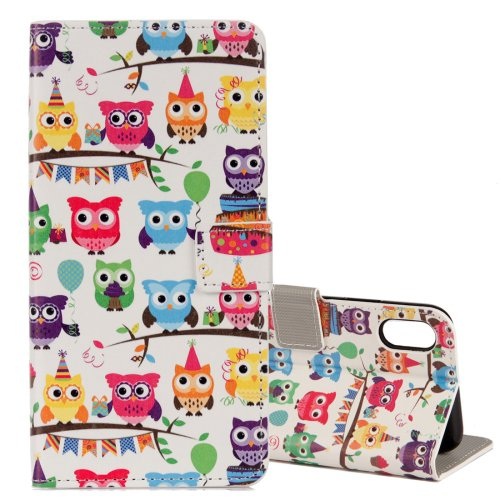 For iPhone X Heads Owls Pattern Horizontal Flip Leather Case with Holder, Card Slots & Wallet