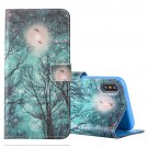 For iPhone X Sky and Trees Pattern Horizontal Flip Leather Case with Holder, Card Slots & Wallet