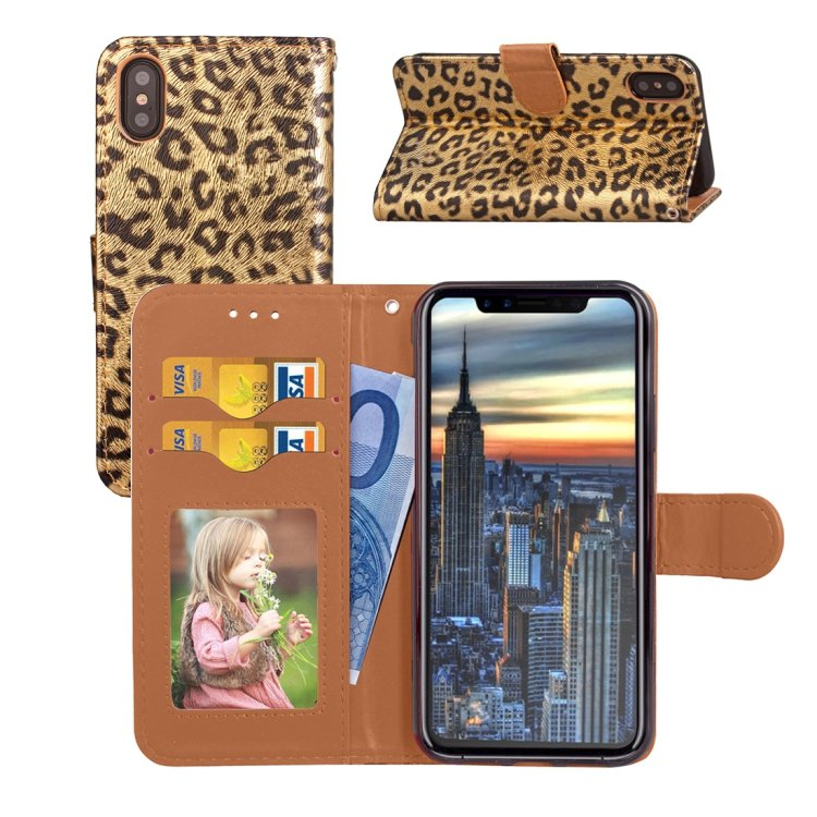 For iPhone X Gold Leopard Pattern Leather Case with Holder, Photo Frame & Lanyard