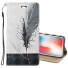For iPhone X 3D Relief Feather Pattern Leather Case with Holder, Card slots & Lanyard