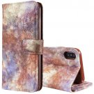 For iPhone X Purple Forest series Leather Case with Card Slot, Wallet & Photo Frame