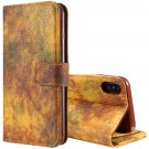 For iPhone X Yellow Forest series Leather Case with Card Slot, Wallet & Photo Frame