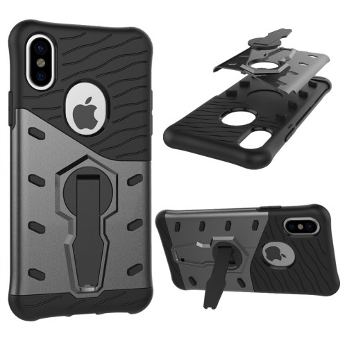 For iPhone X Black 360° Spin Sniper Hybrid Cover TPU + PC Combination Case with Holder