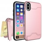 For iPhone X Rose Gold Brushed Texture Protective Back Cover Case with Holder & Card Slot