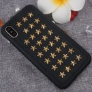 For iPhone X Metal + TPU + PU Golden Star Rivet Style Pattern Back Cover Case