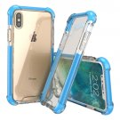 For iPhone X PC + TPU Drop-proof Protective Back Cover Case - Blue