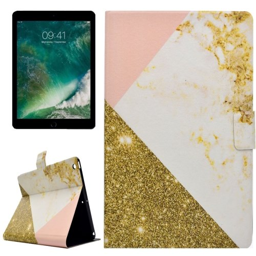 For iPad 9.7 inch 2017 PU+TPU Pink Marble Pattern Leather Case with Holder & Card Slots