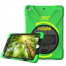 For iPad 9.7 inch 2017 Light Green 360° Rotation PC + Silicone Case with Holder & Hand-strap