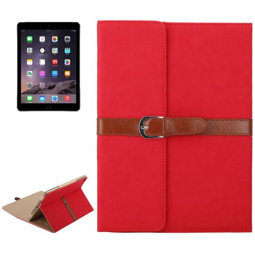 For iPad Air 2/iPad 6 Red Business Style Leather Case with 3-Folding Holder & Buckle