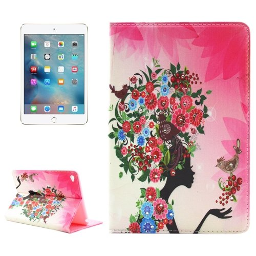 For iPad mini 4 Girl 5 Pattern Diamond Encrusted Horizontal Flip Leather Case with Holder