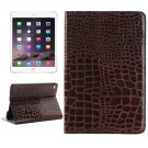 For iPad mini 4 Brown Crocodile Texture Smart Leather Case with Holder, Card Slots & Wallet