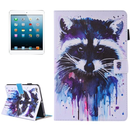 For iPad mini 4/3/2/1 Raccoon Pattern Flip Leather Case with Holder, Card/Pen Slots & Wallet