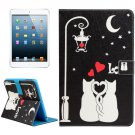 For iPad mini 4/3/2/1 Love Cats Pattern Flip Leather Case with Holder, Card Slots & Wallet