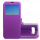 For Galaxy Note 8 Purple Argyles Flip Leather Case with Holder, Card Slots & Call Display ID