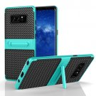 For Galaxy Note 8 Green PC Texture Protective Cover Back Case with Built-in Holder