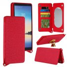 For Galaxy Note 8 Red Back Case Cover with Card Slot, Photo Frame, Holder & Mirror