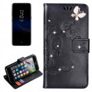 For Galaxy S 8 Black Butterfly Diamond Encrusted Leather Case with Holder & Card Slots