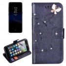 For Galaxy S 8 Dark Blue Butterfly Diamond Encrusted Leather Case with Holder & Card Slots