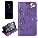 For Galaxy S 8 Purple Butterfly Diamond Encrusted Leather Case with Holder & Card Slots