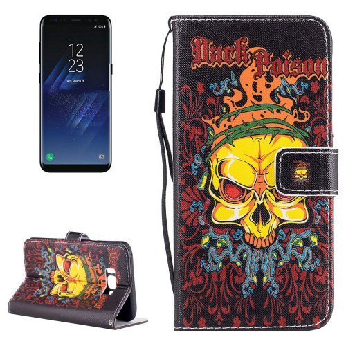 For Galaxy S 8 Yellow Skull Pattern Flip Leather Case with Holder, Card Slots & Wallet
