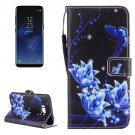 For Galaxy S 8 Blue Flower Pattern Flip Leather Case with Holder, Card Slots & Wallet