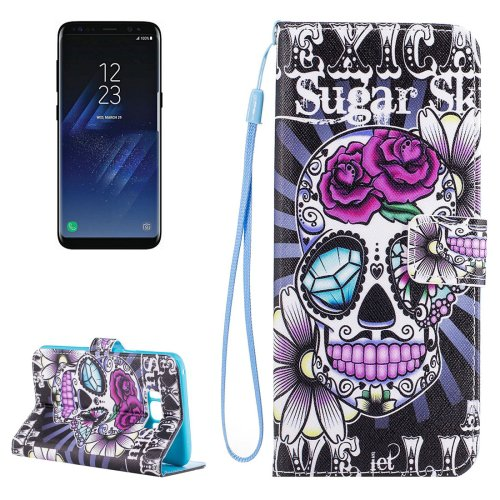 For Galaxy S 8 Sugar Skull Pattern Flip Leather Case with Holder, Card Slots & Wallet