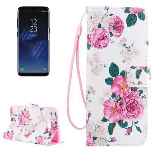 For Galaxy S 8 Pink Rose Pattern Flip Leather Case with Holder, Card Slots & Wallet