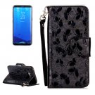 For Galaxy S 8 Black Butterfly Flip Leather Case with Holder, Card Slots & Wallet