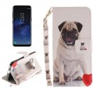 For Galaxy S 8 Pug Pattern Flip Leather Case with Holder, Card Slots, Wallet & Lanyard