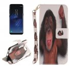For Galaxy S 8 Monkey Pattern Flip Leather Case with Holder, Card Slots, Wallet & Lanyard
