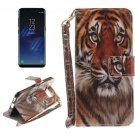 For Galaxy S 8 Tiger Pattern Flip Leather Case with Holder, Card Slots, Wallet & Lanyard