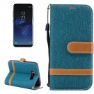For Galaxy S 8 Green Denim Texture Leather Case with Holder, Card Slots, Wallet & Lanyard