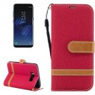 For Galaxy S 8 Red Denim Texture Leather Case with Holder, Card Slots, Wallet & Lanyard