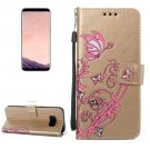 For Galaxy S 8 Gold Voltage Leather Case with Holder, Card Slots, Wallet & Lanyard