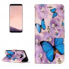 For Galaxy S 8 Butterfly Pattern Leather Case with Holder, Card Slots, Wallet & Photo Frame