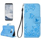 For Galaxy S 8 Blue Diamante Butterfly Leather Case with Holder, Card Slots & Wallet