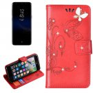 For Galaxy S 8 + Red Butterfly Diamond Encrusted Leather Case with Holder & Card Slots