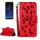 For Galaxy S 8 + Laser Butterfly Pattern Red Leather Case with Holder, Card Slots & Wallet