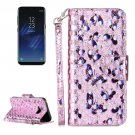 For Galaxy S 8 + Laser Butterfly Pattern Silver Leather Case with Holder, Card Slots & Wallet