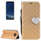 For Galaxy S 8 + Gold Love Lattice Leather Case with Holder, Card Slots & Wallet & Lanyard