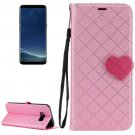 For Galaxy S 8 + Pink Love Lattice Leather Case with Holder, Card Slots & Wallet & Lanyard